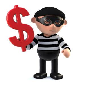 63509101 - 3d render of a burglar holding a us dollar symbol.